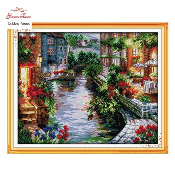 Golden Panno,The Lakeside Houses Counted Cross Stitch 11CT 14CT landscape Cross Stitch Kits for Embroidery Home Decor 923