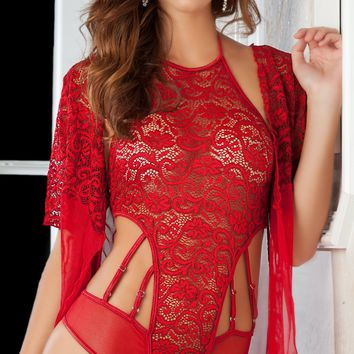 Red Hot Lust Teddy and Robe