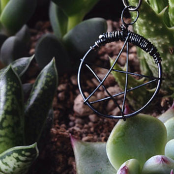 10% OFF Wire Wrapped Pentacle Charm - FREE Shipping