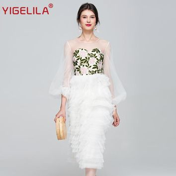 YIGELILA 2017 Latest Summer Women Fashion O-neck Lantern Sleeve Embroidery Patchwork Mesh Empire Mid Length Beach Dress 62736