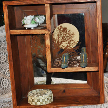 Wood Shadow Box -Handmade-Rustic-Primitive-Recycled Etched Mirror Of Tree And Moon As Back Drop. Home Decor-Country-Cottage