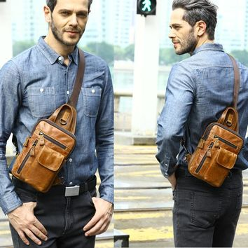 Genuine Leather Men's Chest Bag