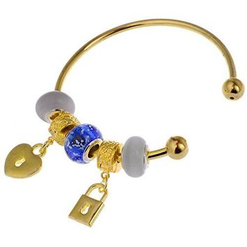 RUBYCA Classic Silver Gold Tone Cuff Bangle Bracelet Crystal Heart Lock Charms for Women Teens 8 In