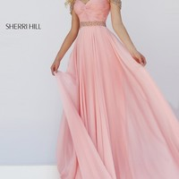 Cold Shoulder Floor Length Sherri Hill Prom Dress