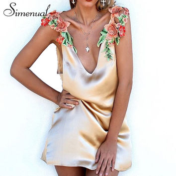 Embroidery flower summer sundresses women clothing deep v neck satin sexy short party dresses sleeveless casual dress