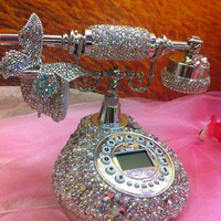 Bling Classic Vintage telephone Butterfly pearl handmade w/ Swarovski element