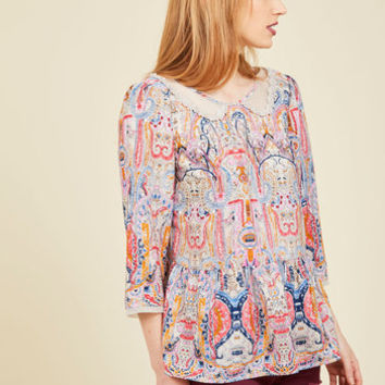 Sprightly Attire Top in Illustrations | Mod Retro Vintage Short Sleeve Shirts | ModCloth.com