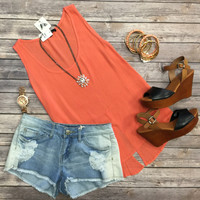 Just a Little Slit Top: Coral
