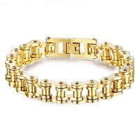 Gift New Arrival Shiny Awesome Great Deal Hot Sale Stylish Titanium Men Strong Character Chain Gold Bracelet [10783259907]
