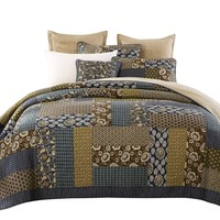 Tache 2-3 Piece Cotton Royal Chambers Patchwork Floral Quilt Set (JHW-573)