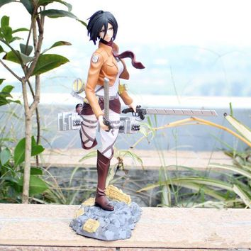 Cool Attack on Titan Japanese Anime  Mikasa Ackerman San Ye Fighting Ver actionn figure PVC 25cm Model Collection Sexy girl toy Doll AT_90_11