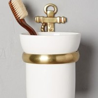 Brass Anchor Toothbrush Holder by Anthropologie in Antique Gold Size: Toothbrush Holder Bath