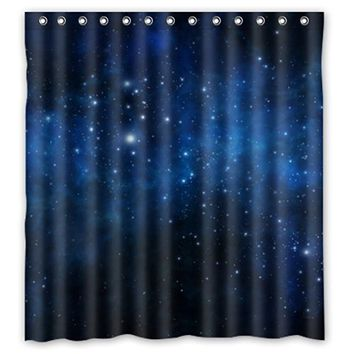 "Dream Starry Sky - Custom Fantasy Night Sky Wonderful Star Universe Shower Curtain(New Waterproof Polyester Fabric)(66""x72"") - Fantastic Bathroom Exclusive F015"
