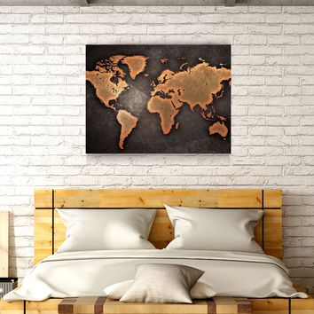 Rustic World Map Wooden Wall Decor