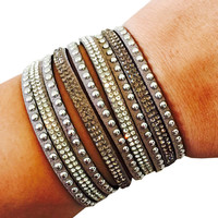 Fitbit Bracelet for FitBit Flex Activity Tracker - The TINLEY Grey Rhinestone Studded Snap Fitbit Bracelet for Small Wrists - FREE SHIPPING