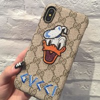 GUCCI embroidery Donald Duck iPhone7/8plus gucci mobile phone shell iPhone 6s no pattern protection sleeve.