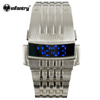 Mens Watches LED Digital Watches Silver Full Steel Square Military Casual Clock
