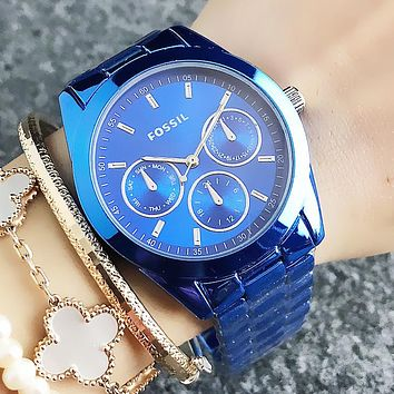 FOSSIL Fashion New Dial Letter Numeral Business Women Men Casual Wristwatch Watch