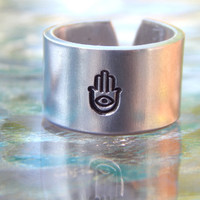 Hamsa Hand Aluminum Cuff Ring Hand Stamped  Inspirational Gift Protection Ring