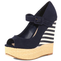 Navy striped wedge court - View All Shoes  - Shoes  - Dorothy Perkins United States