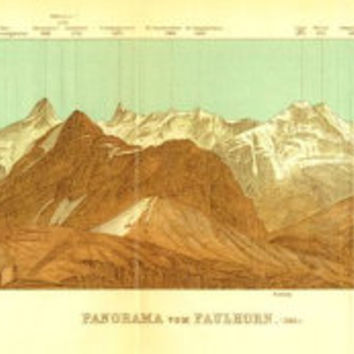1899 Panorama of the Faulhorn, Switzerland, Bernese Alps, Antique Drawing, Baedeker
