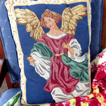 Angel Pillow 1980s Christmas Decor Tapestry Throw Pillow Guardian Angel Holiday Home Decor