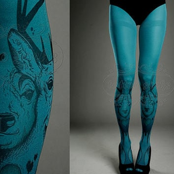 Tattoo Tights   turquoise one size Triple Deer full by tattoosocks