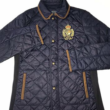 NWT Ralph Lauren Womens Navy Gold Crest Quilted Puffer Jacket Suede Trim Size M