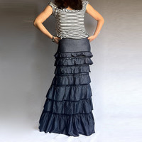 Denim Layered Ruffle Long Skirt  Blue Cotton with back Slit