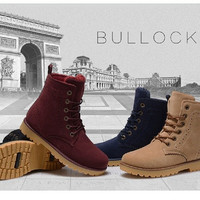 2014 Winter Snow Boots Women shoes Leather Warm boots Unisex Outdoor Leisure motorcycle boots