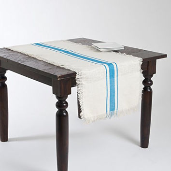 Striped Fringed Jute Table Runner (Turqouise)
