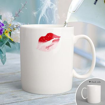 Kiss Temperature Changing Red Lip Print Mug