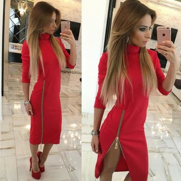 Zippers Side Split Sexy Bodycon Sheath Dress Autumn Winter Women Midi Dresses Solid Long Sleeve Femme Pencil Tight Dress GV324