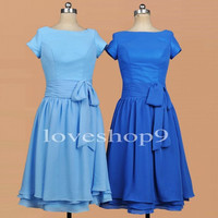 Short Sleeves Sky Blue Royal Blur Button Prom Dress Bridesmaid Dresses Party Dresses Evening Dresses Wedding Occasions 2014