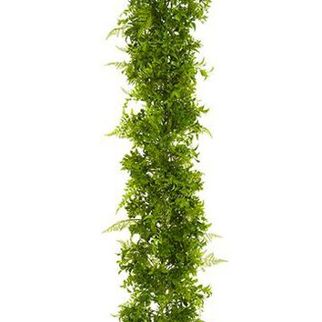 UV Protected Fake Outdoor Eucalyptus and Fern Garland - 6' Long
