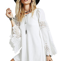 White Lace Embroidered Long Sleeve Chiffon Mini Dress