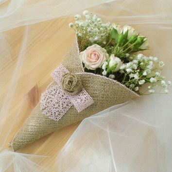 Church Pew Decoration in Peach, I Do, Wedding Decor, Burlap Cones, Peach Lace, Used Wedding Decor, Cottage Chic Wedding, Buralp and Lace
