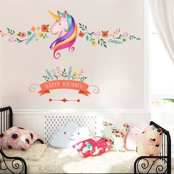 Colorful Flower Animal Unicorn Wall Stickers For kids Room Happy Holiday Girls Room Window Nursery Decor Birthday Christmas Gift