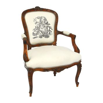 Pre-owned Antique French Carved Louis XVI Bergere Chair