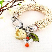 Beaded Rope Bracelet, Birds, Leaf, Coral, Cream, Olive Green, Cotton Rope, Glass Beads, Silver Componets, OOAK