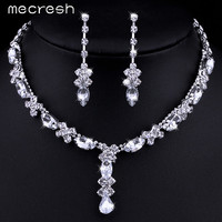 Mecresh Simple Teardrop African Jewelry Set Choker Necklace and Earrings Rhinestone Crystal Bridal Wedding Jewelry Sets TL002