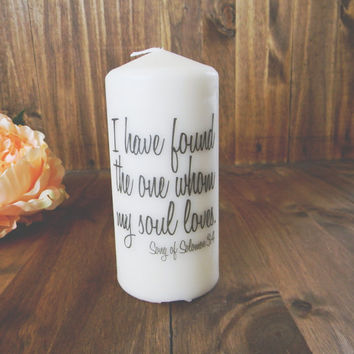 My Soul Loves 6 Inch Pillar Unity Candle by ParrisChicBoutique
