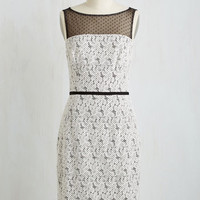 Long Sleeveless Sheath Every Other Speckle Dress