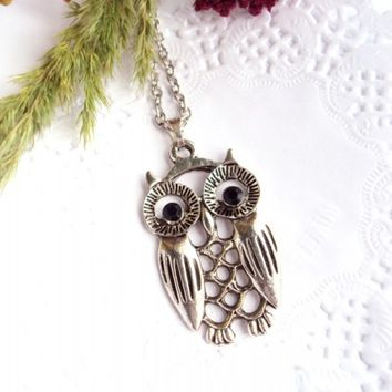 $18.00 FREE SHIPPING! Silver Owl Necklace with Black Crystals - Bird Pendant - Casual Style - Harry Potter Owl - Gift for Her - Ukrainian Jewelry - Bestie.com