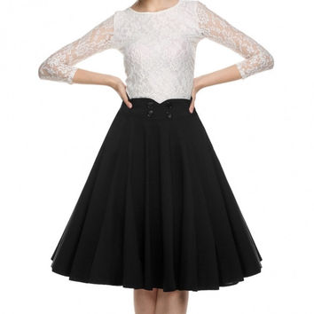 Elegant Women 1950s Retro Vintage Style Casual Party Swing Pleated Skirt Double-breasted