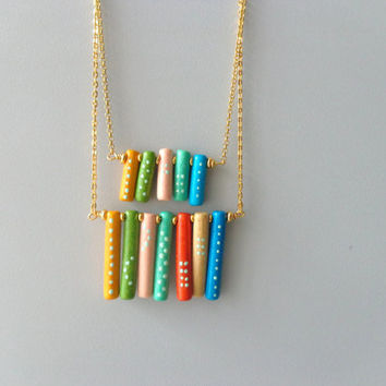 fringe colorful bar necklace, dot spikes style
