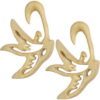 00 Gauge Organic Crocodile Wood Soaring Bird Hanger Plug Set