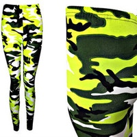 NEON YELLOW CAMO LEGGINGS