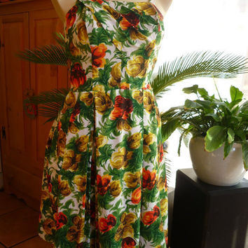 50s 60s Hawaiian Dress Sarong Front Tropical by decotodiscovintage
