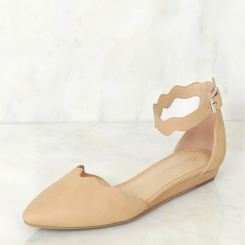 Suede Scalloped Flat Natural